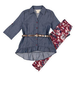 Girls 4-6x Ruffled Chambray Shirt with Leggings - 3607061950150