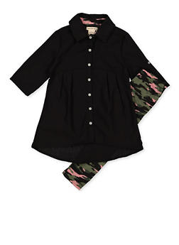 Girls 4-6x Button Front Top with Camo Leggings - 3607061950158