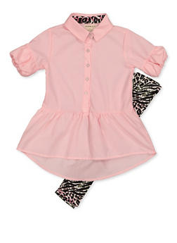 Girls 4-6x Drop Hem Shirt with Animal Print Leggings - 3607061950159