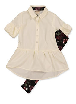 Girls 4-6x Ruffled Shirt and Printed Leggings - 3607061950160