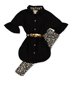 Girls 4-6x Belted Shirt and Leopard Print Leggings - 3607061950161