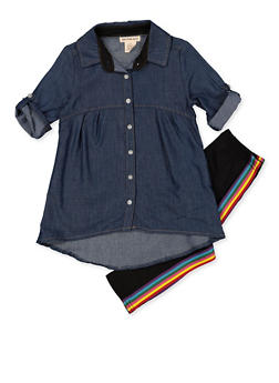 Girls 4-6x Chambray High Low Shirt with Leggings - 3607061950164
