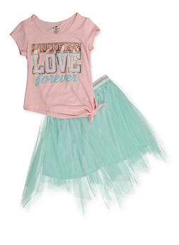 Girls 4-6x Kindness and Love Forever Tee with Tutu Skirt - 3607061950173