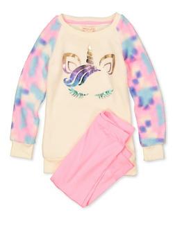 Girls 4-6x Fleece Unicorn Top with Leggings - 3607061950192