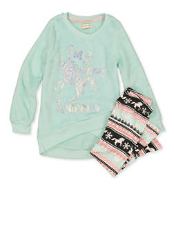 Girls 4-6x Im a Snow Unicorn Plush Sweatshirt with Leggings - 3607061950193