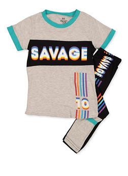 Girls 4-6x Savage Contrast Trim Tee with Leggings - 3607063370005