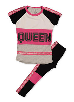 Girls 4-6x Queen Tape Trim Top and Leggings - 3607063370007