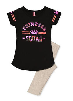 Girls 4-6x Princess Squad Tee with Leggings - 3607066590005