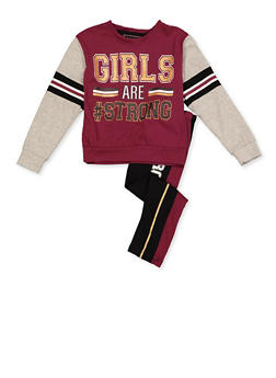 Girls 4-6x Glitter Graphic Top and Striped Detail Leggings Set - 3607073990001