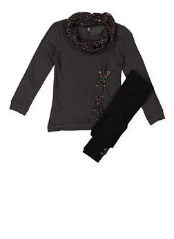 Girls 7-16 Lace Up Top and Leggings with Scarf - 3608023130001