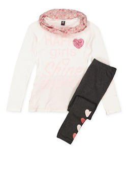 Girls 7-16 Glitter Graphic Top and Leggings with Scarf - 3608023130002