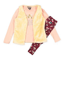 Girls 7-16 Graphic Top and Leggings with Faux Fur Vest - 3608038340006