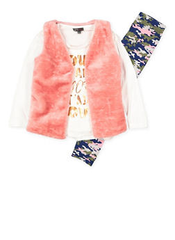 Girls 7-16 Graphic Top with Vest and Leggings - 3608038340007