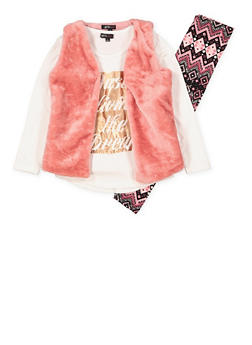 Girls 7-16 Graphic Top with Vest and Leggings - 3608038340035