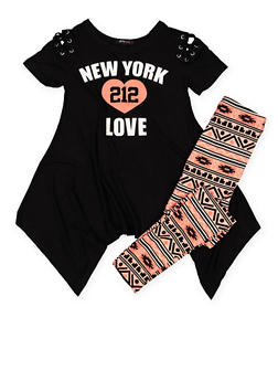 Girls 7-16 Graphic Top with Printed Leggings - 3608038340040
