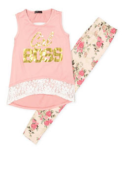 Girls 7-16 Graphic Tank Top with Printed Leggings - 3608038340041