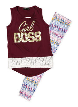 Girls 6x-16 Graphic Tank Top with Printed Leggings - 3608038340041