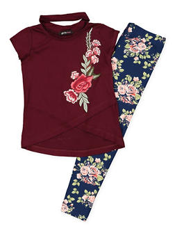 Girls 7-16 Flower Keyhole Top and Leggings - 3608038340042