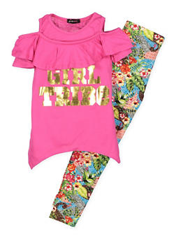 Girls 7-16 Graphic Cold Shoulder Top with Printed Leggings - FUCHSIA - 3608038340043