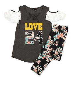 Girls 7-16 Lace Trim Top and Printed Leggings - 3608038340055