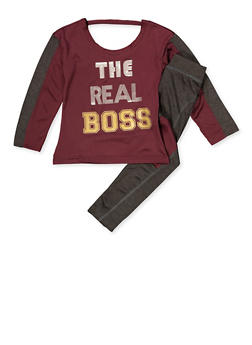Girls 7-16 The Real Boss Active Top and Leggings - 3608038340063