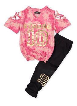 82ea74e38832 Girls 7-16 Strong Tie Dye Cold Shoulder Top with Leggings - 3608038340064