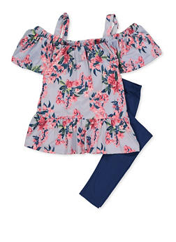 Girls 7-16 Floral Ruffle Cold Shoulder Top with Leggings - 3608038340065