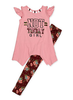 Girls 7-16 Not Today Girl Cold Shoulder Top and Leggings - 3608038340066