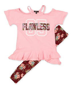 Girls 7-16 Flawless Cold Shoulder Top and Floral Leggings - 3608038340067