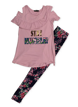 Girls 7-16 Stay Humble Cold Shoulder Top and Leggings - 3608038340069