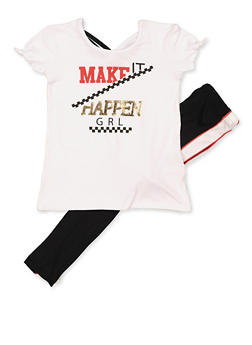 Girls 7-16 Make It Happen Grl Graphic Top and Leggings - 3608038340071