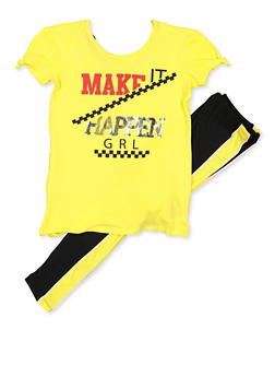 Girls 7-16 Make It Happen Grl Graphic Top and Leggings - 3608038340071