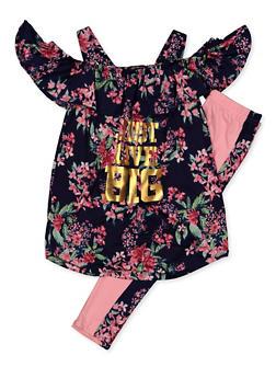 Girls 7-16 Floral Just Live Big Cold Shoulder Top and Leggings Set - 3608038340075