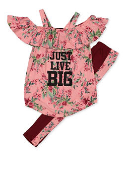 Girls 7-16 Floral Just Live Big Cold Shoulder Top and Leggings Set - 3608038340075