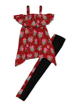 Girls 7-16 Floral Cold Shoulder Top with Leggings - 3608038340077