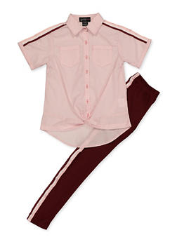 Girls 7-16 Striped Tape Twist Front Shirt and Leggings - 3608038340080