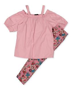 Girls 7-16 Cold Shoulder Top with Floral Leggings - 3608038340081