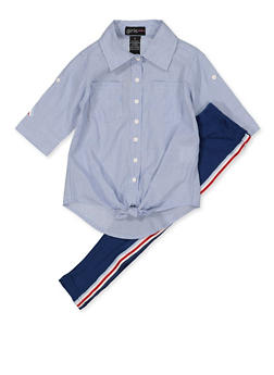 Girls 7-16 Striped Tape Button Front Shirt with Leggings - 3608038340084