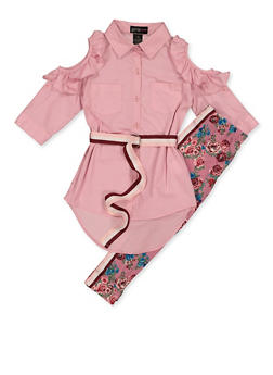 Girls 7-16 Button Front Shirt with Floral Leggings - 3608038340085