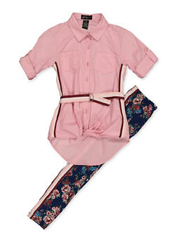 Girls 7-16 Striped Tape Detail  Shirt and Leggings - 3608038340086
