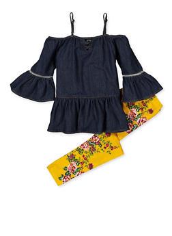 Girls 7-16 Denim Cold Shoulder Top and Floral Leggings - 3608038340087