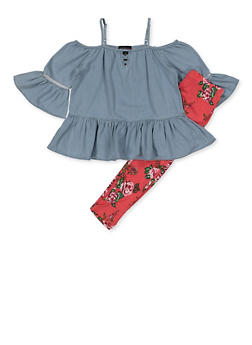 Girls 7-16 Denim Cold Shoulder Top and Floral Leggings - 3608038340087