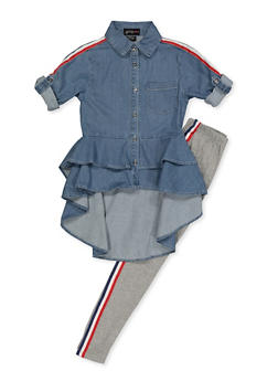 a7bb098b0f9e Girls 7-16 Tiered High Low Denim Shirt and Leggings - 3608038340089