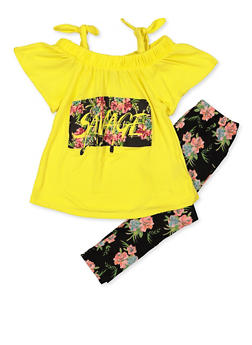 Girls 7-16 Living Savage Top with Floral Leggings - 3608038340102