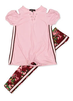 Girls 7-16 Cold Shoulder Striped Tape Top with Floral Leggings - 3608038340103