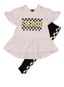 Girls 4-16 Fierce Ruffle Top with Leggings - 3608038340105