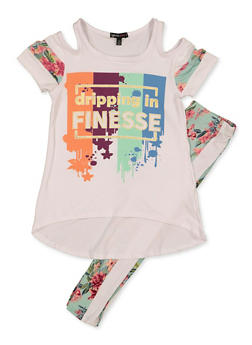 Girls 7-16 Finesse Cold Shoulder Top with Floral Leggings - 3608038340106