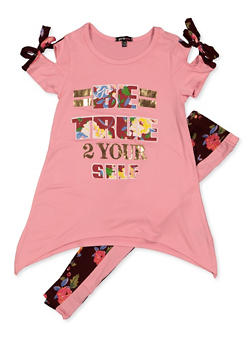 Girls 7-16 True 2 Yourself Top with Leggings - 3608038340111
