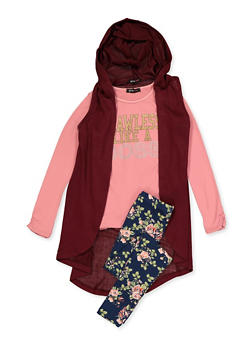 Girls 7-16 Glitter Graphic Top with Duster and Leggings - 3608038340116