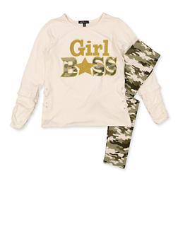 Girls 7-16 Girl Boss Top and Camo Leggings - 3608038340118